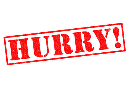rushed: HURRY! red Rubber Stamp over a white background. Stock Photo