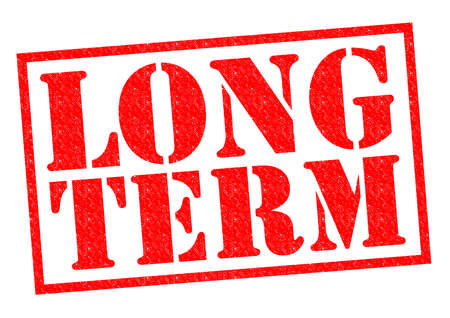 LONG TERM red Rubber Stamp over a white background.