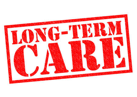 ltc: LONG-TERM CARE red Rubber Stamp over a white background.