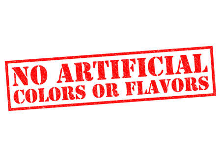 NO ARTIFICIAL COLORS OR FLAVORS (American spelling) red Rubber Stamp over a white background.