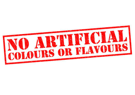 flavours: NO ARTIFICIAL COLOURS OR FLAVOURS (English spelling) red Rubber Stamp over a white background.
