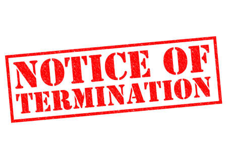 contractual: NOTICE OF TERMINATION red Rubber Stamp over a white background. Stock Photo