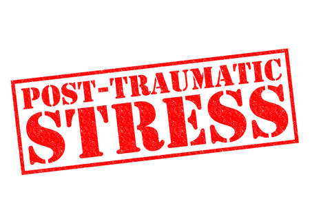 traumatic: POST-TRAUMATIC STRESS red Rubber Stamp over a white background. Stock Photo