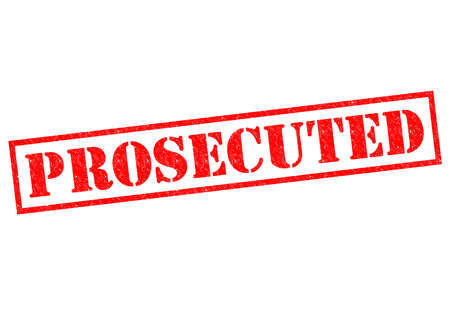 litigate: PROSECUTED red Rubber Stamp over a white background. Stock Photo