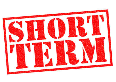 SHORT TERM red Rubber Stamp over a white background.