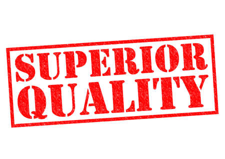superior: SUPERIOR QUALITY red Rubber Stamp over a white background. Stock Photo