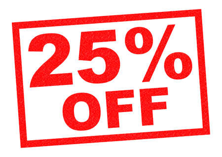 25: 25% OFF red Rubber Stamp over a white background.