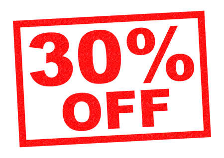 advertised: 30% OFF red Rubber Stamp over a white background.