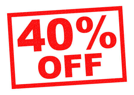 per cent: 40% OFF red Rubber Stamp over a white background.
