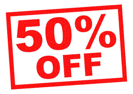 50 off: 50% OFF red Rubber Stamp over a white background.