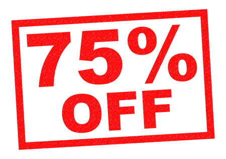 75% OFF red Rubber Stamp over a white background.