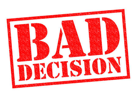 atrocious: BAD DECISION red Rubber Stamp over a white background. Stock Photo
