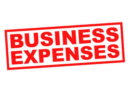 credit crunch: BUSINESS EXPENSES red Rubber Stamp over a white background.