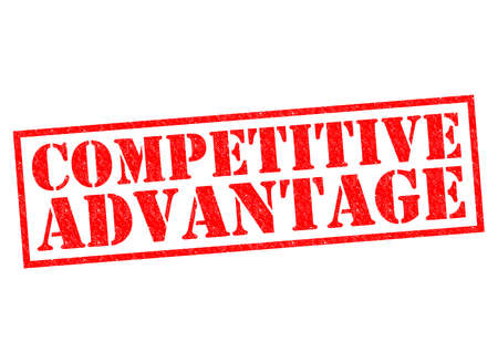 competitive advantage: COMPETITIVE ADVANTAGE red Rubber Stamp over a white background. Stock Photo