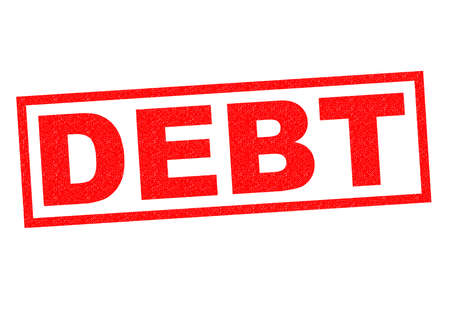 unable: DEBT red Rubber Stamp over a white background.