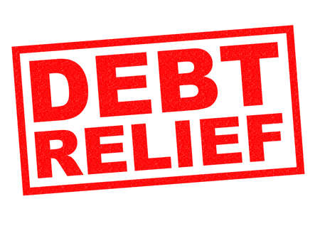 handouts: DEBT RELIEF red Rubber Stamp over a white background.