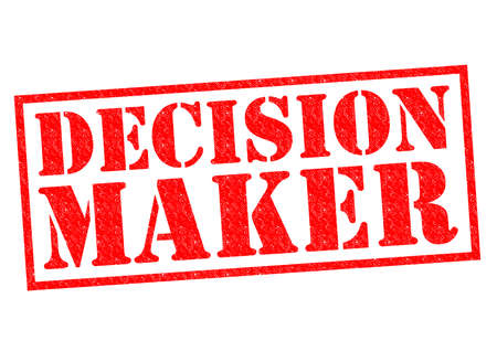 make a call: DECISION MAKER red Rubber Stamp over a white background.