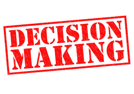 make a call: DECISION MAKING red Rubber Stamp over a white background.