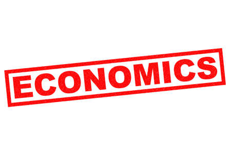 white interest rate: ECONOMICS red rubber Stamp over a white background.
