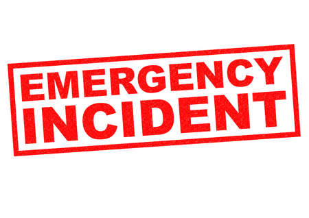 incident: EMERGENCY INCIDENT red Rubber Stamp over a white background.