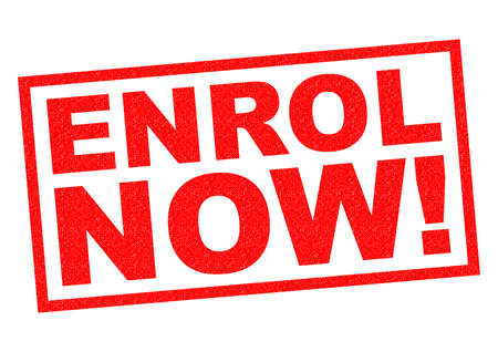 freebie: ENROL NOW! red Rubber Stamp over a white background. Stock Photo