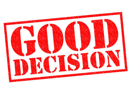 good judgment: GOOD DECISION red Rubber Stamp over a white background.