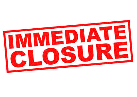immediate: IMMEDIATE CLOSURE red Rubber Stamp over a white background. Stock Photo