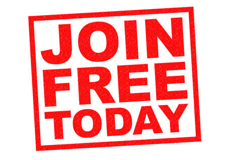 enlist: JOIN FREE TODAY red Rubber Stamp over a white background.