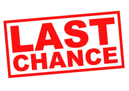 LAST CHANCE red Rubber Stamp over a white background.
