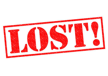 disorientated: LOST! red Rubber Stamp over a white background.