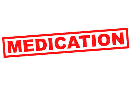 get help: MEDICATION red Rubber Stamp over a white background.