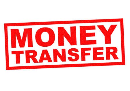 money transfer: MONEY TRANSFER red Rubber Stamp over a white background. Stock Photo