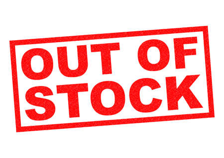 out of order: OUT OF STOCK red Rubber Stamp over a white background.