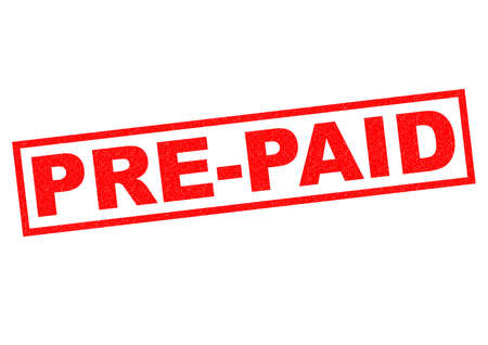 prepaid: PRE-PAID red Rubber Stamp over a white background. Stock Photo