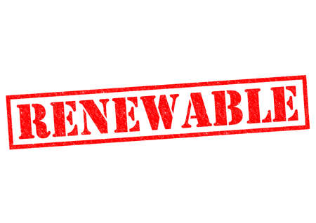 RENEWABLE red Rubber Stamp over a white background. Stock Photo