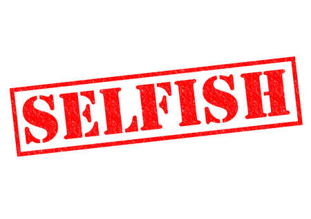 selfish: SELFISH red Rubber Stamp over a white background.
