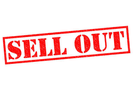 sell out: SELL OUT red Rubber Stamp over a white background. Stock Photo