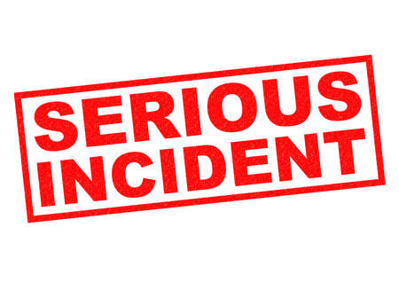 risky situation: SERIOUS INCIDENT red Rubber Stamp over a white background. Stock Photo