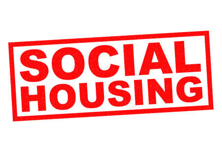 tenure: SOCIAL HOUSING red Rubber Stamp over a white background.