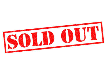 SOLD OUT red Rubber Stamp over a white background. photo