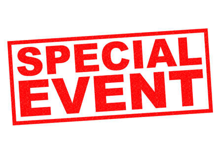 special event: SPECIAL EVENT red Rubber Stamp over a white background. Stock Photo