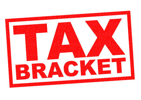 tax bracket: TAX BRACKET red Rubber Stamp over a white background.