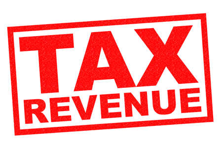 levy: TAX REVENUE red Rubber Stamp over a white background.