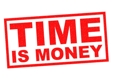 hardwork: TIME IS MONEY red Rubber Stamp over a white background.