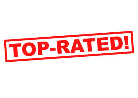 world class: TOP-RATED red Rubber Stamp over a white background. Stock Photo