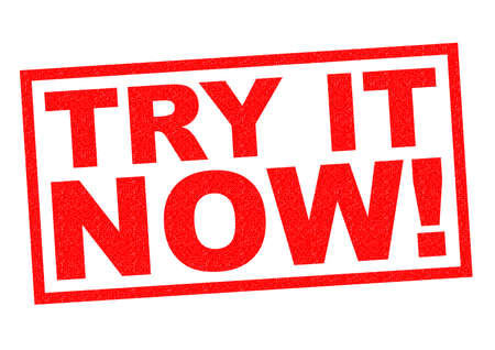 try: TRY IT NOW! red Rubber Stamp over a white background.