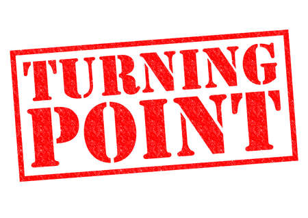 TURNING POINT red Rubber Stamp over a white background.