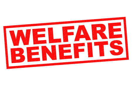 eligibility: WELFARE BENEFITS red Rubber Stamp over a white background.