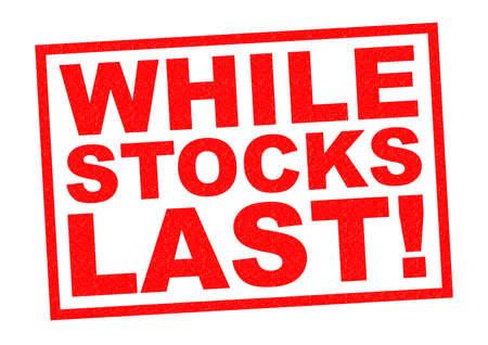 ZOLANG DE VOORRAAD STREKT! rode rubber stempel op een witte achtergrond. Stockfoto - 36612241