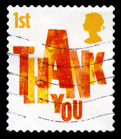 obliged: UNITED KINGDOM - CIRCA 2006: A used British postage stamp depicting a THANK YOU message, circa 2006.
